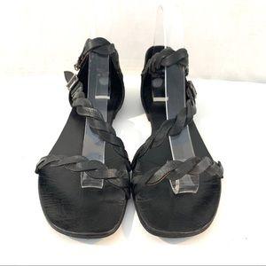 Rebels Black Braided Leather Sandals Sz 9